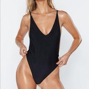 Nasty Gal Alina One piece Swimsuit black size S